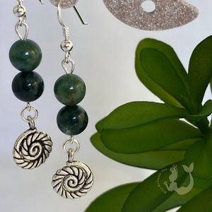 Green Moss Agate & Nautilus Charm Sterling Silver